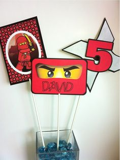 NINJAGO Birthday Party Centerpiece Picks van HappyBubby op Etsy