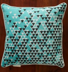 Turquoise Aztec Triangles Pillow Cover by nellandmary on Etsy, $48.00