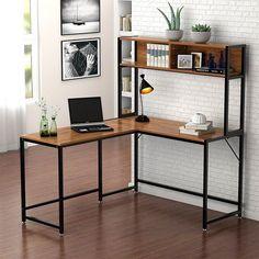 Home Interior Bedroom Bourdeau L-Shape Computer Desk with Hutch.Home Interior Bedroom Bourdeau L-Shape Computer Desk with Hutch Corner Desk With Hutch, Computer Desk With Hutch, Desk Hutch, Bookshelf Desk, Corner Office, Corner Desk Diy, Modern Corner Desk, Corner Table, Sideboard