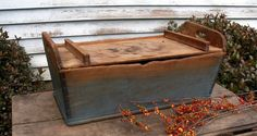Circa 1840 Wooden Dough Box Lid Old Style Blue Paint Dovetailed Square Nails Nr