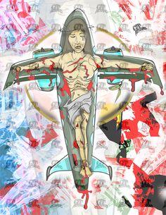Jesus Plane Print 8.5 x 11 inches. No Frame by GT Artland Religious #Surrealism