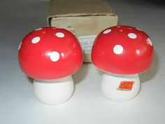 For sale at Retrophoria.com, $8.00 - Red and white toadstool shakers still in original box.