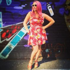 The owner of Pretty Parlors, Anna, looks beautiful with her pink hair in the Trixie Romper in Red Waterlilies!  #trashydivaredwaterlilies #trashydivatrixieromper