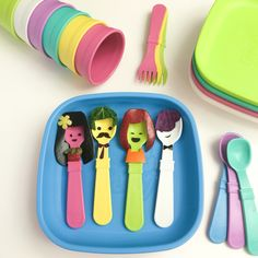 I like to draw faces on anything.  I love these plastic tableware made by #replayrecycled