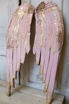 Angel wings large wood metal carved wall by AnitaSperoDesign