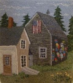 """<em><strong>Still Standing</strong>, 11"""" x 20"""", hand-dyed wool and Colegrove yarn on linen. Designed and hooked by Francine Even, Norwalk, Connecticut, 2016.</em><br /> <br /> Barns, whether new with a shiny roof or just about to fall into the pasture where it stood for centuries, have stories to tell. The story may be one of work, one of barn dances, or one of a family converting it to a home.<br /> <br /> Whatever story, it is a beau..."""