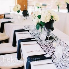 I like the black vases but i would put more hydrangeas in the vase! Perfect for a black and white wedding!