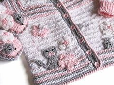 "Items similar to Knitted Baby j acket ""Funny Mouses"" / knit baby girls jacket , hand knit newborn jacket on Etsy Baby Knitting Patterns, Knitting For Kids, Baby Patterns, Arm Knitting, Crochet Baby Booties, Knitted Baby, Crochet Shoes, Baby Girl Jackets, Baby Couture"