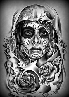 Makaivio gama desenhos татоси tattoo drawings, tattoos и pic Skull Girl Tattoo, Sugar Skull Tattoos, Skull Tattoo Design, Tattoo Design Drawings, Tattoo Sleeve Designs, La Muerte Tattoo, Catrina Tattoo, Best Sleeve Tattoos, Leg Tattoos