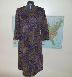 Purple Brown Paisley 1960s Dress Plus Size XL  Vintage 1960s