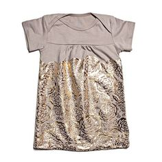 Oh Joy for Winter Water Factory Short Sleeve Baby Dress - Gold & Grey