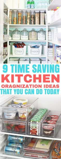 Organize your kitchen in no time! These kitchen organization ideas will save you so much time in your day. | Home Organization | Pantry Organization | #pantryorganization #fridgeorganization #kitchenorganization