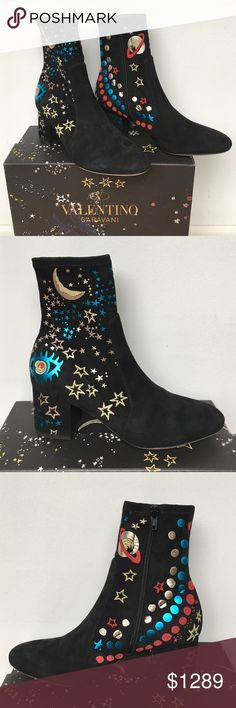 """Valentino """"Astro Couture"""" boots Valentino black stretch suede boots from the Fall 2016 """"Astro Couture"""" collection with red, blue, silver and gold foil cosmos designs printed on them. Lined in tech jersey, the shaft is 6 1/2"""". There is a side zip closure, leather sole, and 2 1/2"""" block heel. Size 38 Italian but since Valentino runs a bit small, it fits more like a 7 1/2 or a smaller 8. New in box with dust bag Valentino Garavani Shoes Ankle Boots & Booties"""