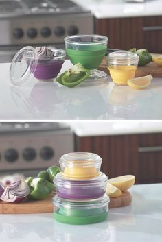 Save your veggie halves and save money! The Veggie Pop-Ups Mini Keeper Set includes the Onion Keeper, Pepper Keeper and Citrus Keeper #Veggie #PopUps #SaveMoney
