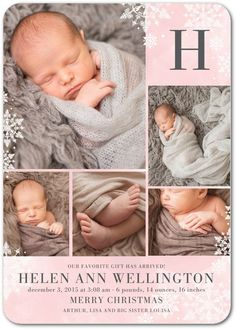 Wintry Monogram: Soft Pink - Winter Girl Birth Announcements in Soft Pink   Hello Little One