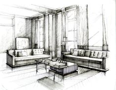 ink interior design architectural illustrations perspective presentation drawing - Google Search