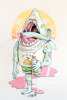 Sharkbro is a carved cake created for the annual online cake competition Threadcakes. First you must choose a Threadless T-shirt design, this year I chose Sharkbro by Tony Riff. I created a timelapse video during the making of the cake and while eating… Sea Theme, Nautical Theme, Ralph Wiggum, Cake Design Inspiration, Tattoo Inspiration, Character Cakes, Hai, Urban Art, Letterpress