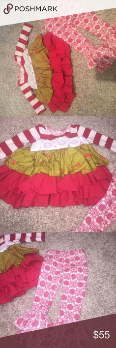 NWOT Christmas Giggle Moon Outfit. 3 months. New without tags Christmas Giggle Moon outfit. Size 3Months. Price is firm on this UNLESS bundled. I paid MORE than retail for it. Add your items to a bundle for a discount that's automatically applied! $50 or more receives FREE SHIPPING. All items from a smoke free/Pet free home. Giggle Moon Matching Sets