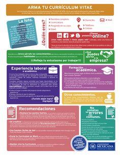 Cómo armar tu Curriculum Vitae Por: soyunimex.com #infografia #infographic #empleo