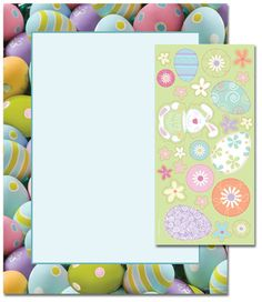 Painted Easter Eggs Letterhead  25 or 100 sheet packs Laser, Inkjet and Copier Compatible Just add your text & print
