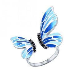 Кольцо с крылышками украшенными эмалью