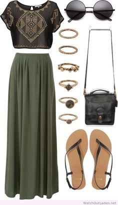 Graphic tee, maxi skirt, and sandals