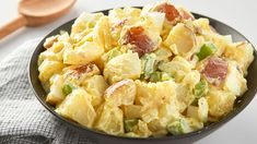 This classic version of creamy American potato salad combines Yukon Gold potatoes with onion, celery, hard-cooked eggs, and capers in a sour-cream dresing with Champagne vinegar. Create your own customized potato salad with the Recipe Maker. Potato Salad Mayonnaise, Potato Salad Dill, Potato Salad Mustard, Potato Salad Dressing, Potato Salad Recipe Easy, Salad Dressing Recipes, Tomato Salad, Fruit Salad, Salad Recipes With Bacon