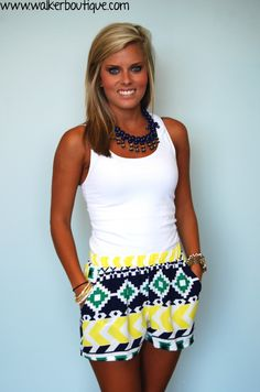 Aztec Shorts with Yellow, navy, & green - comfy and cute!