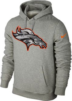 Nike Denver Broncos Fly Over Camo Logo Men's Pullover Hoodie (Large, Heather Gray)