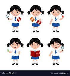 Collection of little girls in school uniform vector image on VectorStock Illustrator Ai, Gym Games For Kids, Ancient Alphabets, Kids Uniforms, School Clipart, Kids Vector, School Uniform Girls, Little Girls, Creations