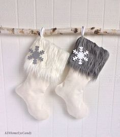 Christmas Stockings Set of 2 White Stocking Faux by KDHomeEyeCandy
