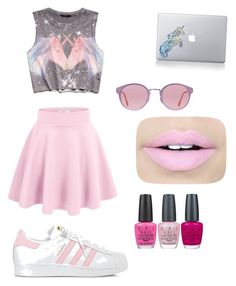 """Unicorn pink🦄"" by emma1322 on Polyvore featuring Forever 21, Vinyl Revolution, adidas, RetroSuperFuture, Fiebiger and OPI"