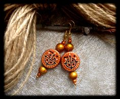 Armenian earrings made of wood with hand-painted. Ar-Mari Rubenian.///