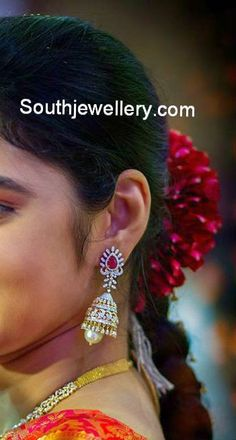 bride in diamond jhumkas