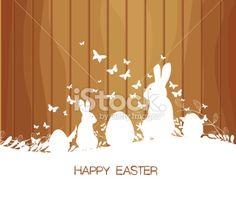 Easter greeting card with rabbit  on the wooden background Royalty Free Stock Vector Art Illustration