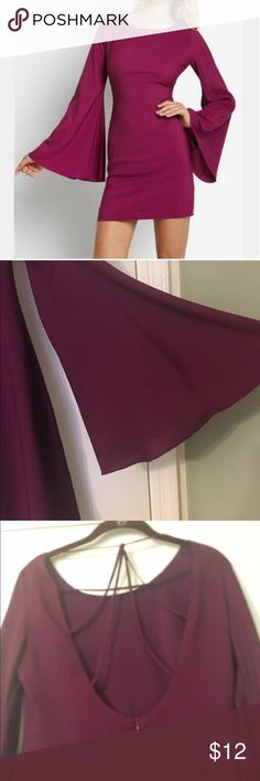 Burgundy bell sleeve cross cross back dress Great used condition. Lined, 100% polyester, Ark & Co Dresses