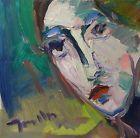 JOSE TRUJILLO OIL PAINTING ORIGINAL MODERN IMPRESSIONISM 12X12 WOMAN PORTRAIT