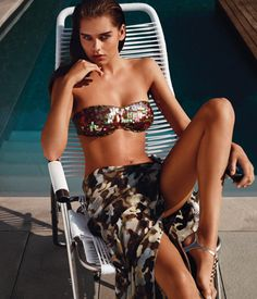 TWIN-SET Simona Barbieri: padded bandeau with ruffled iridescent all-over sequins and boyshorts with matching gathered profiles and logo on back, camouflage pareo wrap and jewelled sandals
