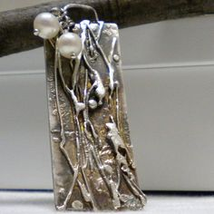 Sterling Silver Pendant with pearls by PrittyfyJewelry