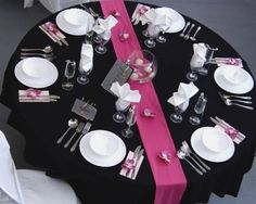One of my favorite color combos is hot pink and black.  This can look really classy for a wedding, if you do it correctly.     Photo from Ne...