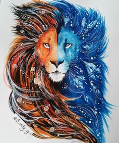 Fire and water lion♡ I want something like this but a feminine figure sort of pin up or a wolf perhaps?