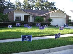 These Campaign Yard Signs are too small and why would you put out so many? Don't create blight in a neighborhood.