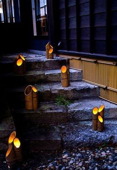 Creating a truly modern garden lighting design can add so much to your home. All types of properties can benefit from a garden lighting make. Bamboo Light, Bamboo Art, Bamboo Crafts, Bamboo Ideas, Backyard Lighting, Outdoor Lighting, Terrace Garden Design, Terrace Ideas, Garden Ideas