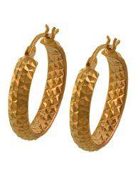 14 Karat Rose Gold 4x20-mm Diamond-cut Hoop Earrings