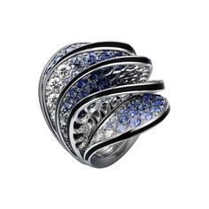 Cartier Paris Nouvelle Vague ring in 18k white gold with diamonds and blue sapphires (=)