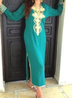 Emerald Green  Moroccan Caftan Dress (Long) - Aisha Style