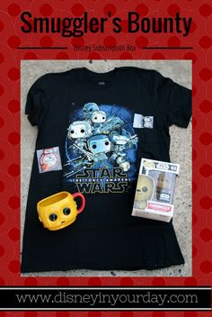 "Star Wars subscription box - Smuggler's Bounty.  Comes every other month with Star Wars goodies!  This month's theme was ""The Resistance.""  Disney in your Day"