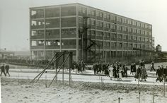 Home time at Bata Factory East Tilbury, Building 13 linked to first factory Building 12 by overhead conveyor c1936