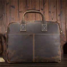 """2017 Vintage Leather Backpack Saddle Bag  Laptop Tote Mens Briefcases 14/"""""""