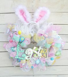 Check out this item in my Etsy shop https://www.etsy.com/listing/500845798/easter-wreath-bunny-ears-wreath-bunny